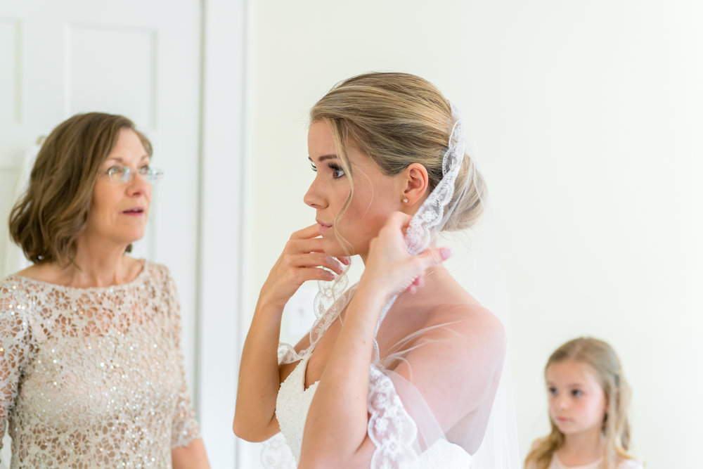 Bride getting ready at her bethesda home