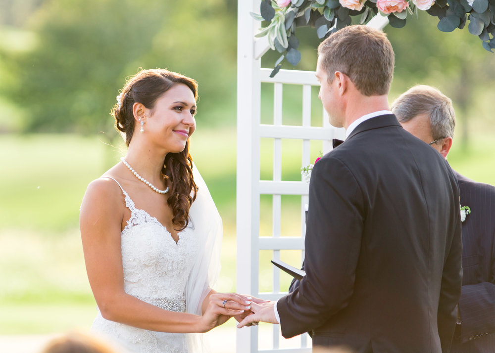 Wedding portraits at sunset at Chantilly Golf Club