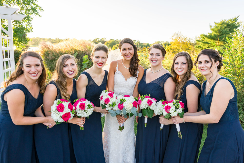 gorgeous bridesmaids in blue dresses at chantilly national