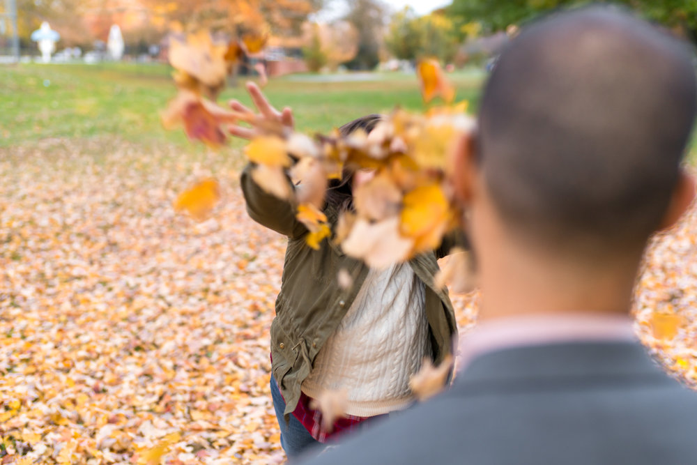 Throwing leaves at each other in Frederick Maryland
