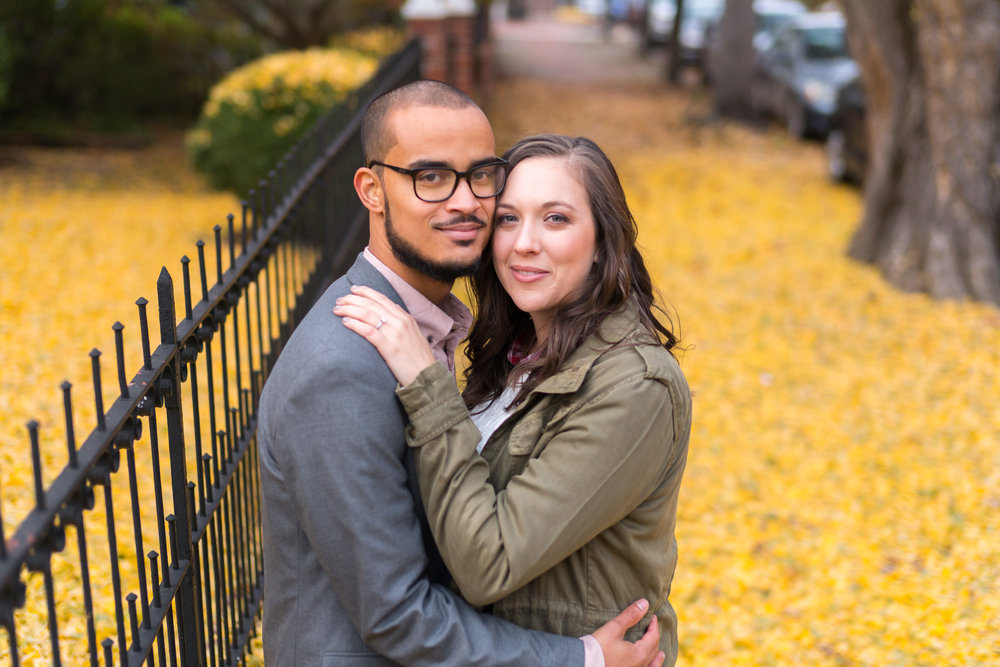Engagement session in Downtown Frederick ginseng leaves