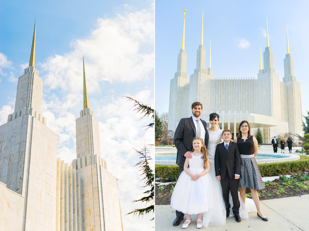Amazing LDS temple in Maryland family photos after wedding