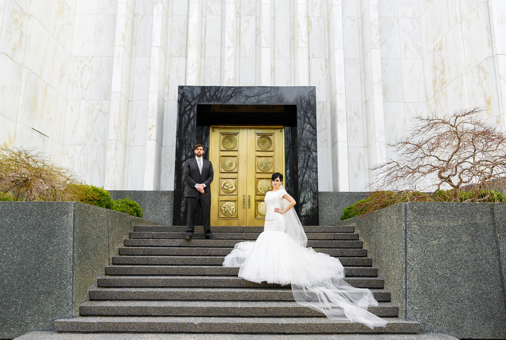Gold door and staircase photo at LDS temple in DC