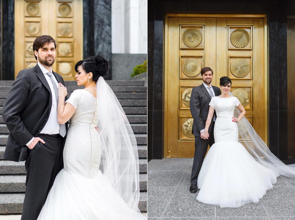 DC LDS temple with gold door wedding photos