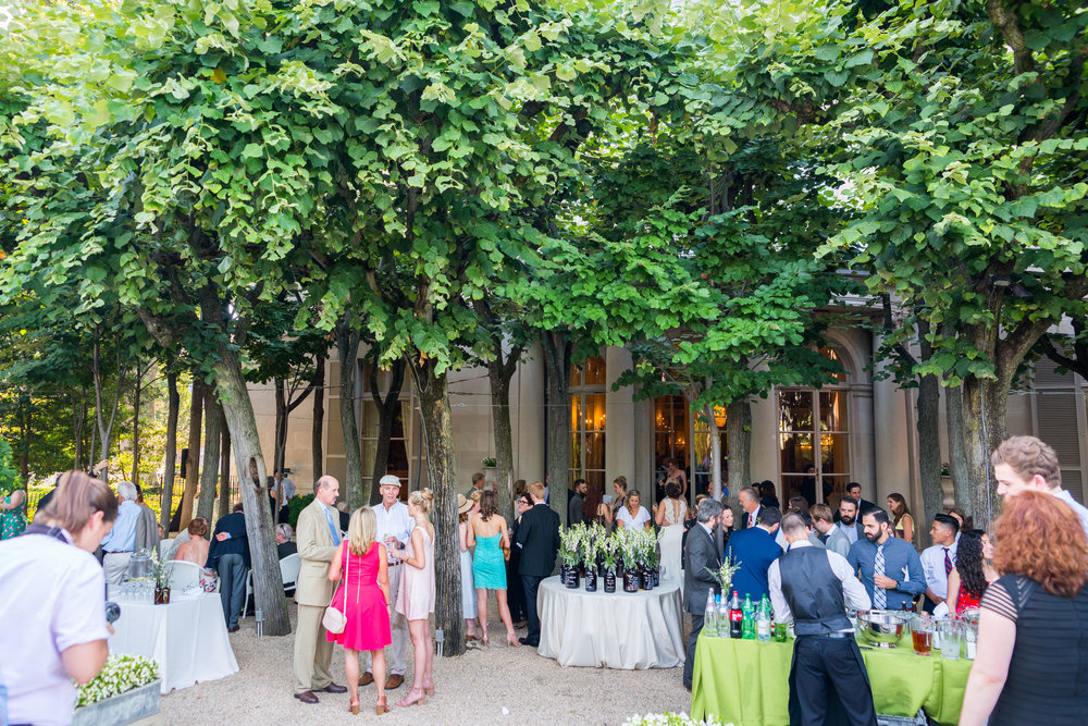 Cocktail hour outside at Meridian House DC summer wedding by jessica nazarova