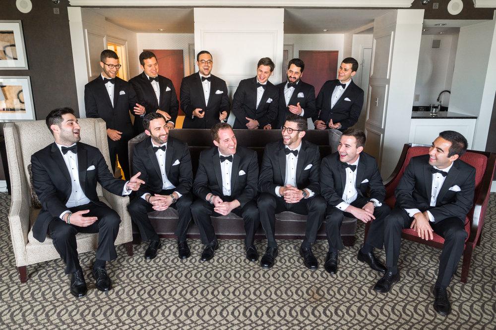 Groomsmen at Hyatt Regency suite
