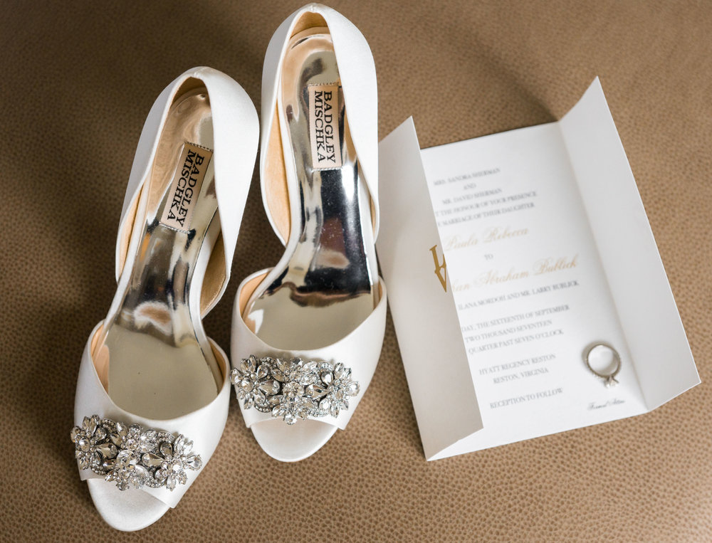 Wedding shoes and details and invitation