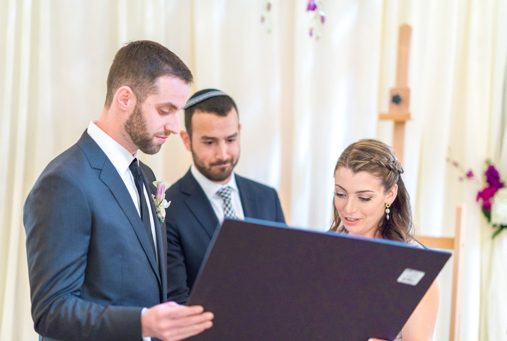 Jewish wedding ceremony indoors at La Ferme Restaurant in Chevy Chase
