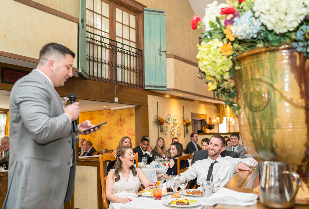 Best man giving his speech at La Ferme wedding
