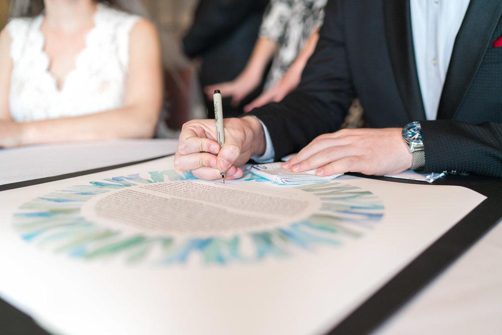 Ketubah signing at Maryland Jewish wedding