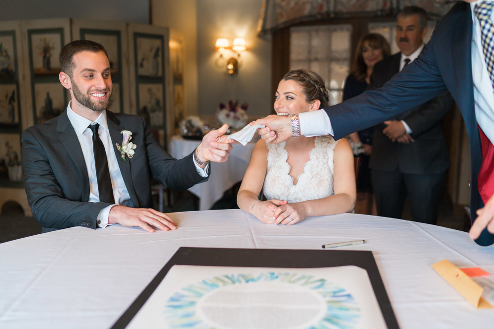 Ketubah signing in upstairs at La Ferme wedding in Chevy Chase