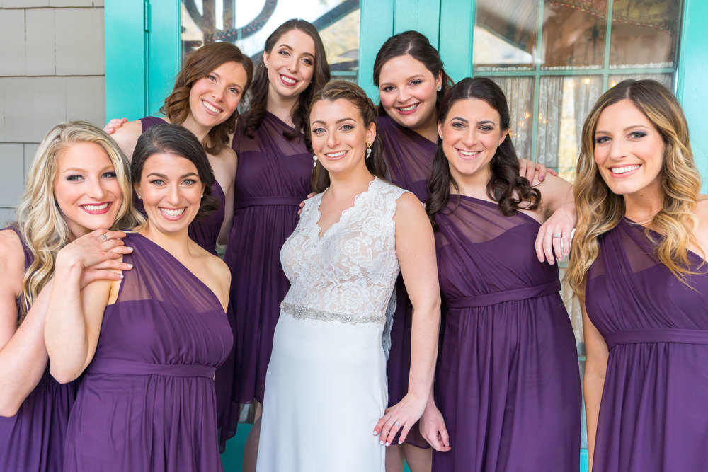 The bride and all her bridesmaids at La Ferme wedding in Chevy Chase