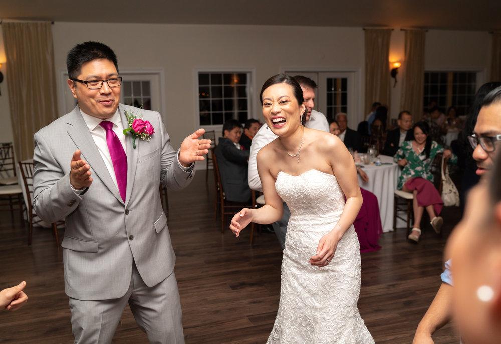 Bride and groom at summer wedding at Lost Creek Winery