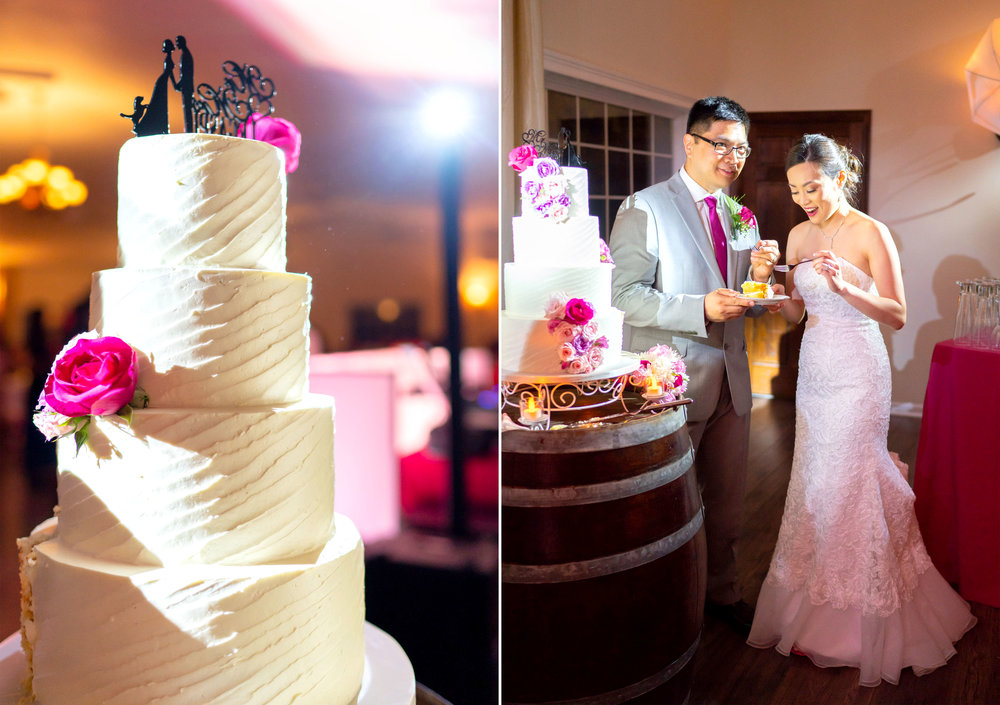 Wedding cake photos with pink and purple flowers