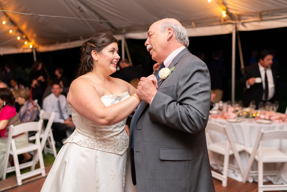 Father daughter dance under twinkle lights and white tent reception at Hendry House wedding
