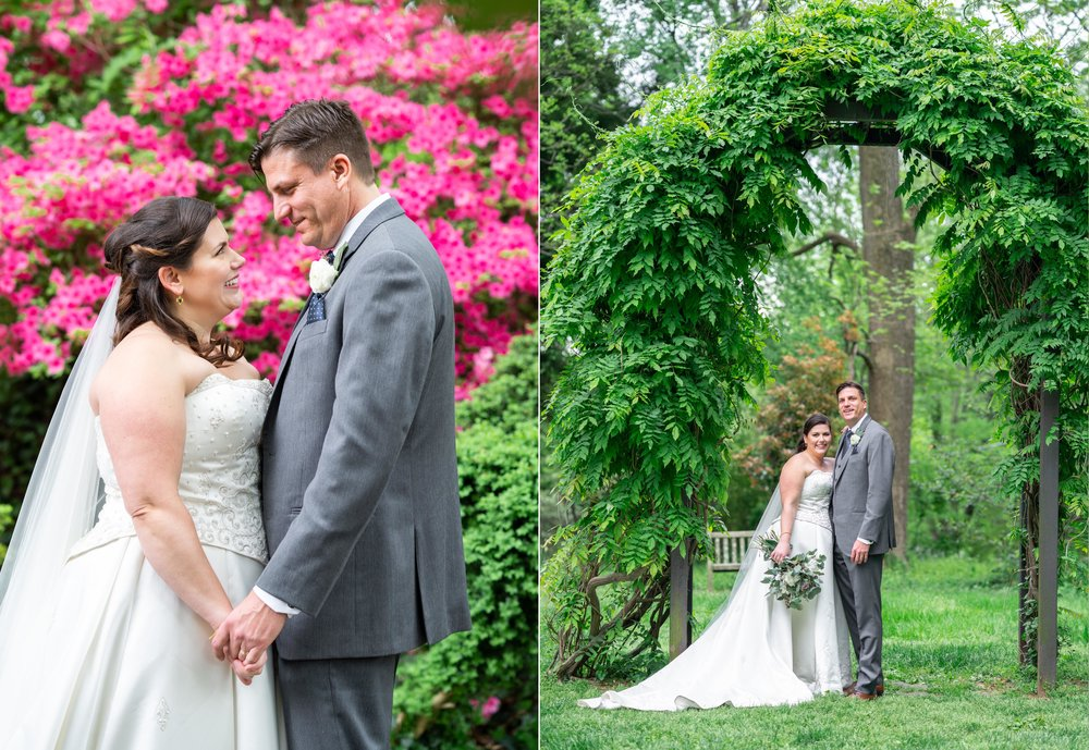 Portrait in front of pink azaleas (left) and under ivy arch (right) at Hendry House wedding