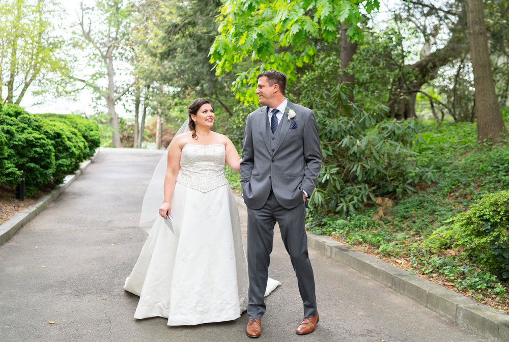 bride and groom sharing their first look at a Hendry House wedding