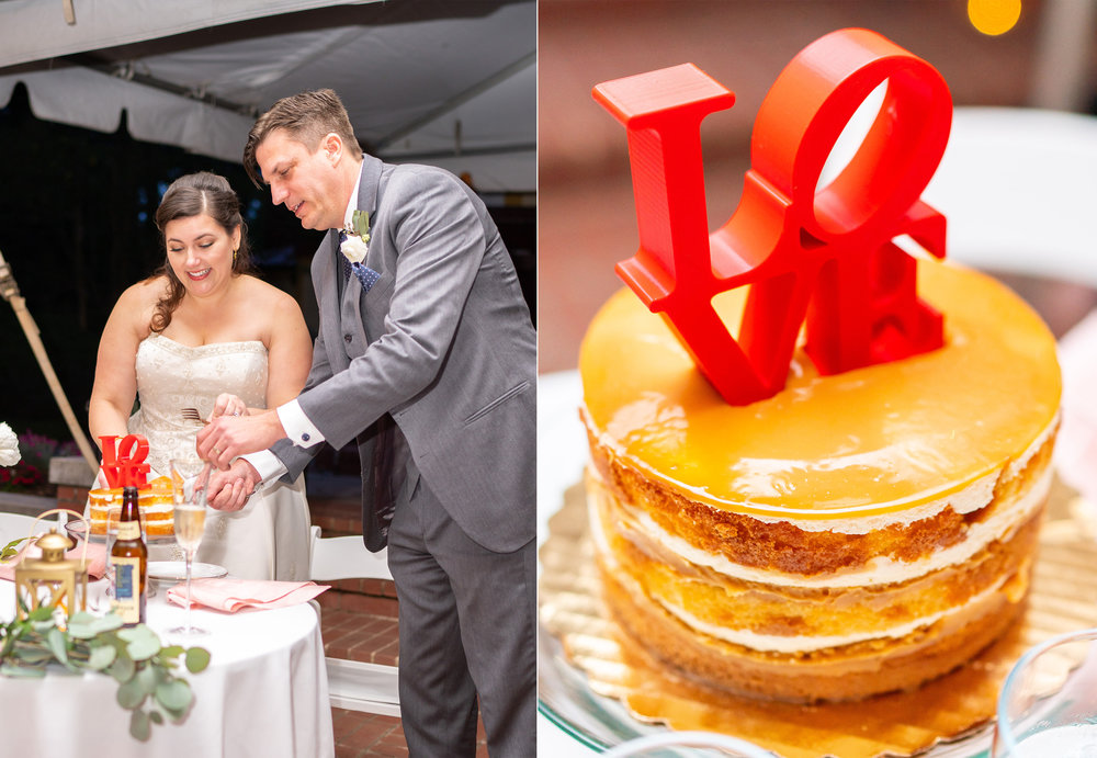 Single tier naked wedding cake with New York LOVE cake topper at Hendry House