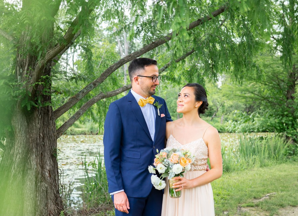 Kenilworth Aquatic Gardens portrait of bride and groom first look