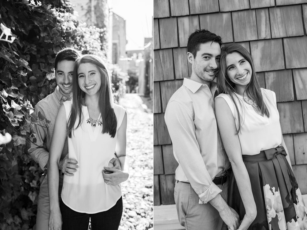 Engagement photos in old town alexandria in black and white