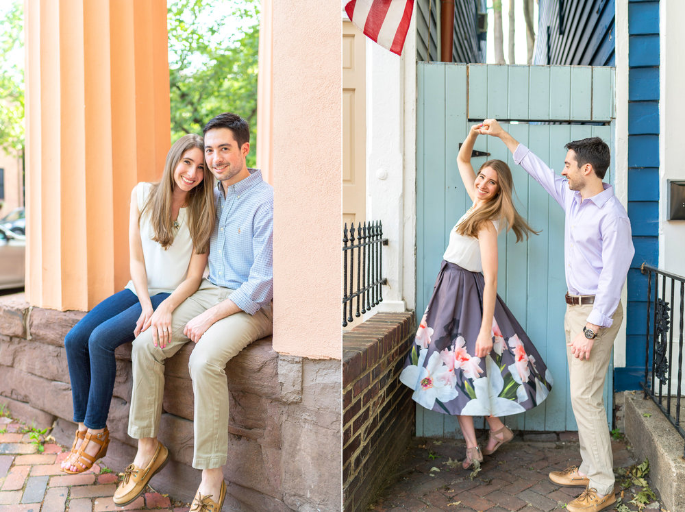 Engagement session on the steps of the Athenaeum in Old Town Alexandria