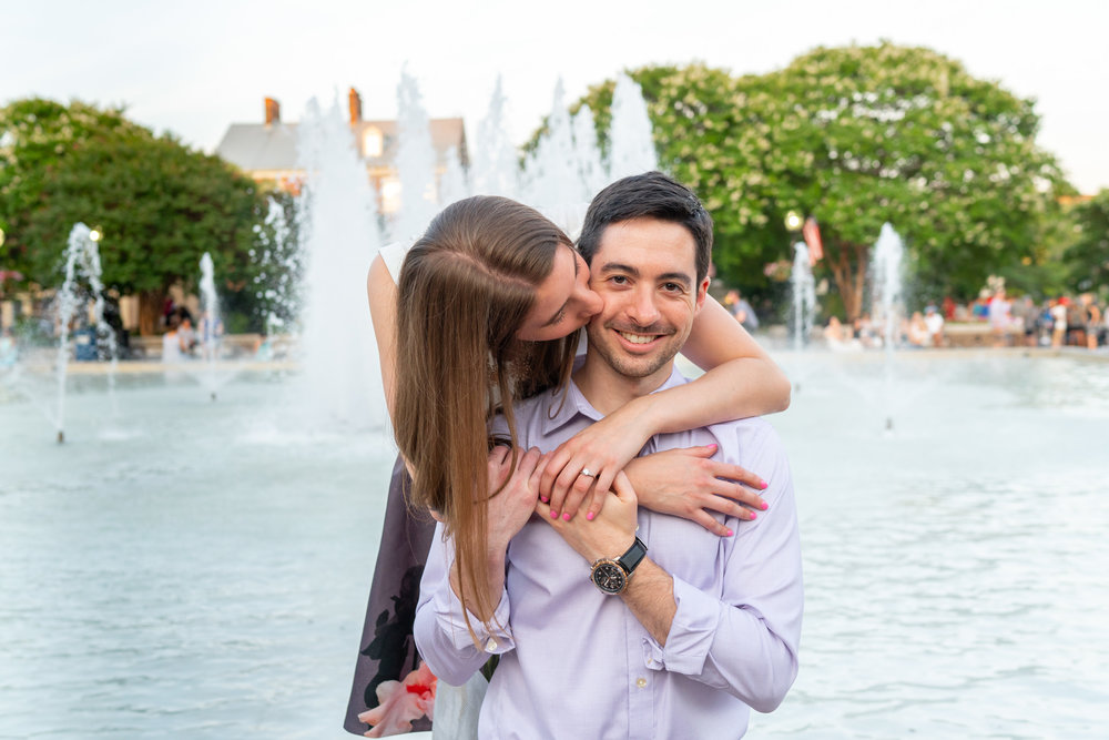 Market Square fountain in Old Town Alexandria engagement session