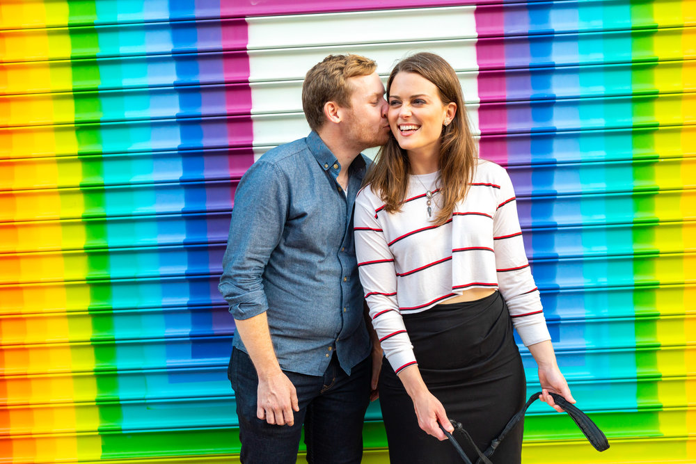Rainbow graffiti love wall at Blagden alley in DC