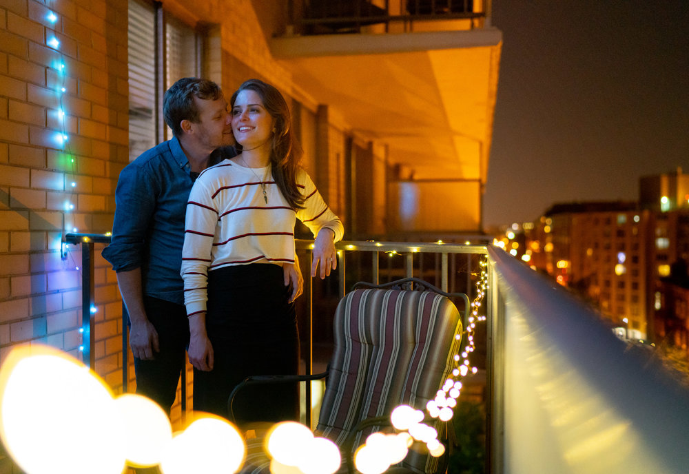Washington DC apartment balcony engagement photos