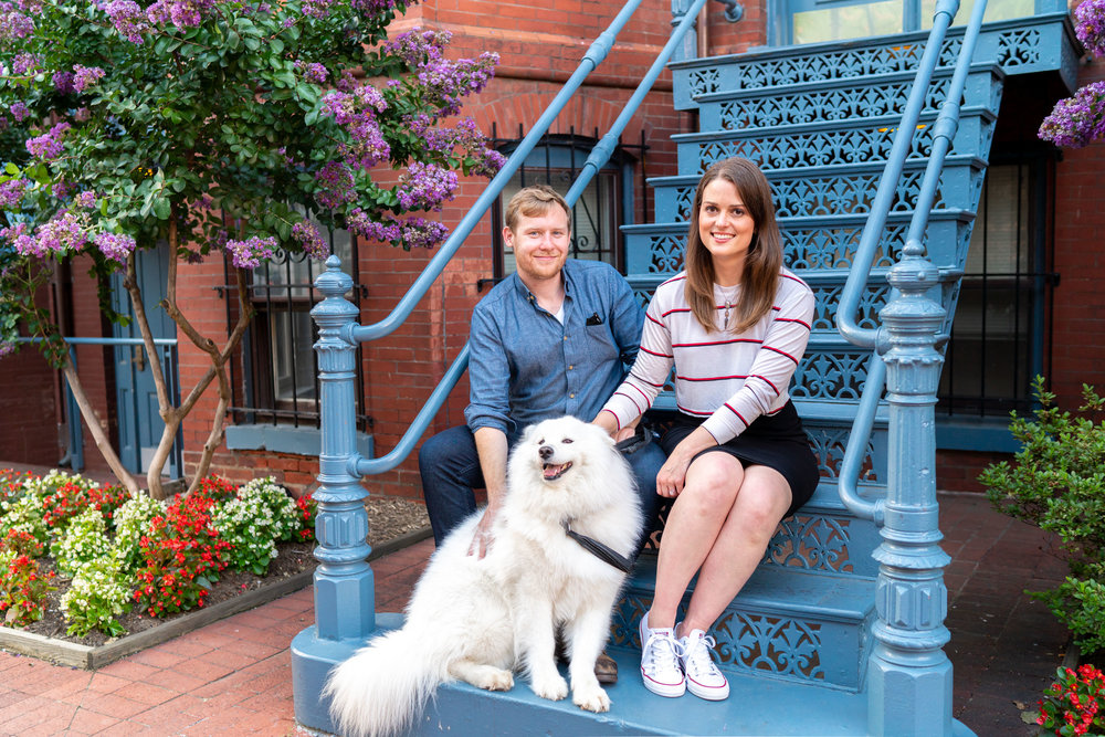 DC blue door and staircase engagement photo ideas