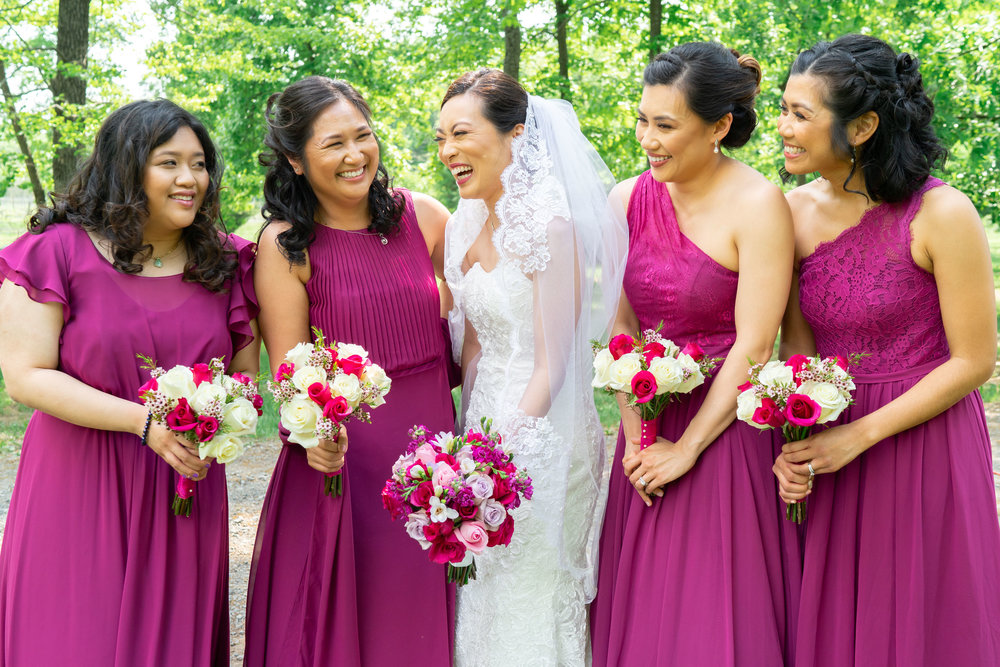 Bride and bridesmaids laughing at Lost Creek Winery wedding