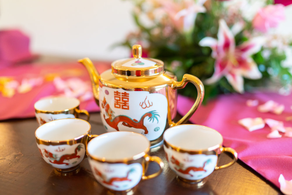 Chinese tea ceremony at a wedding at Lost Creek Winery