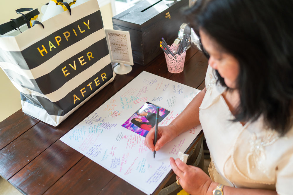 Signing a photo frame instead of traditional guest book