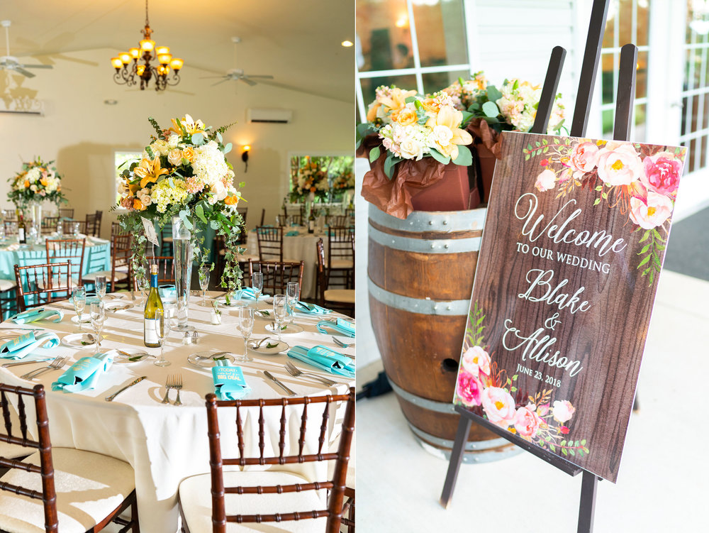 Receptional hall at summer wedding at Harvest House Lost Creek Winery