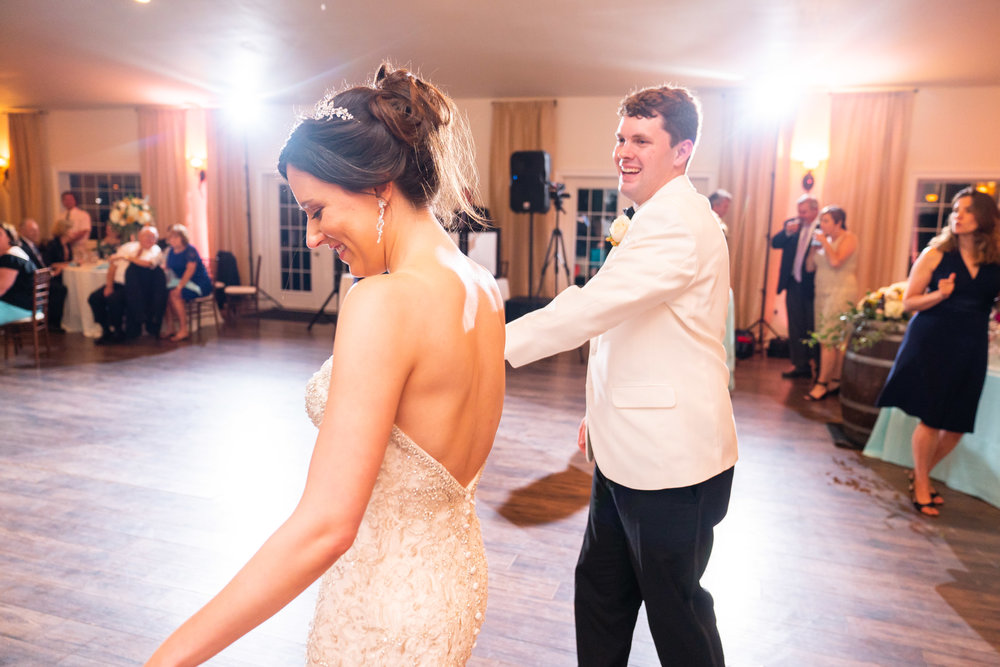 Bride and groom first dance at Lost Creek reception hall