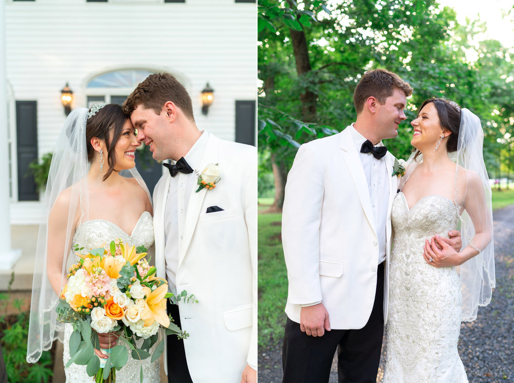Bride and groom kissing in front of Harvest House at Lost Creek Winery