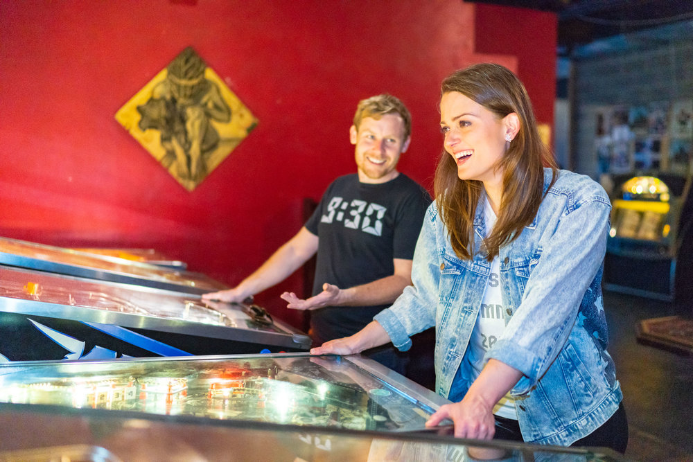 DC bar in Logan's Circle Pinball engagement photos