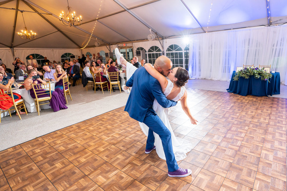 Amazing dip and first dance photo at Rust Manor House wedding reception tent HVL-F60RM