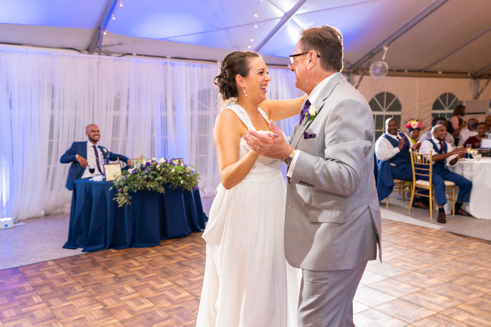 Father daughter dance in white tent reception at Rust Manor House with Sony HVL-F60RM