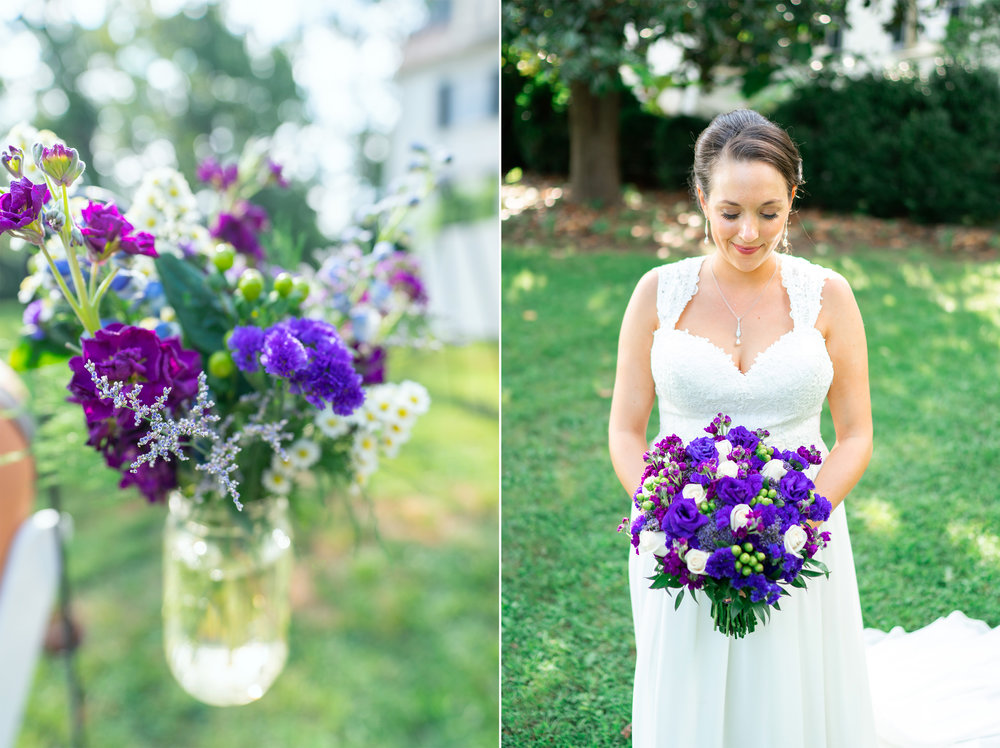Shepherd's hook with purple flowers and bride with purple bouquet