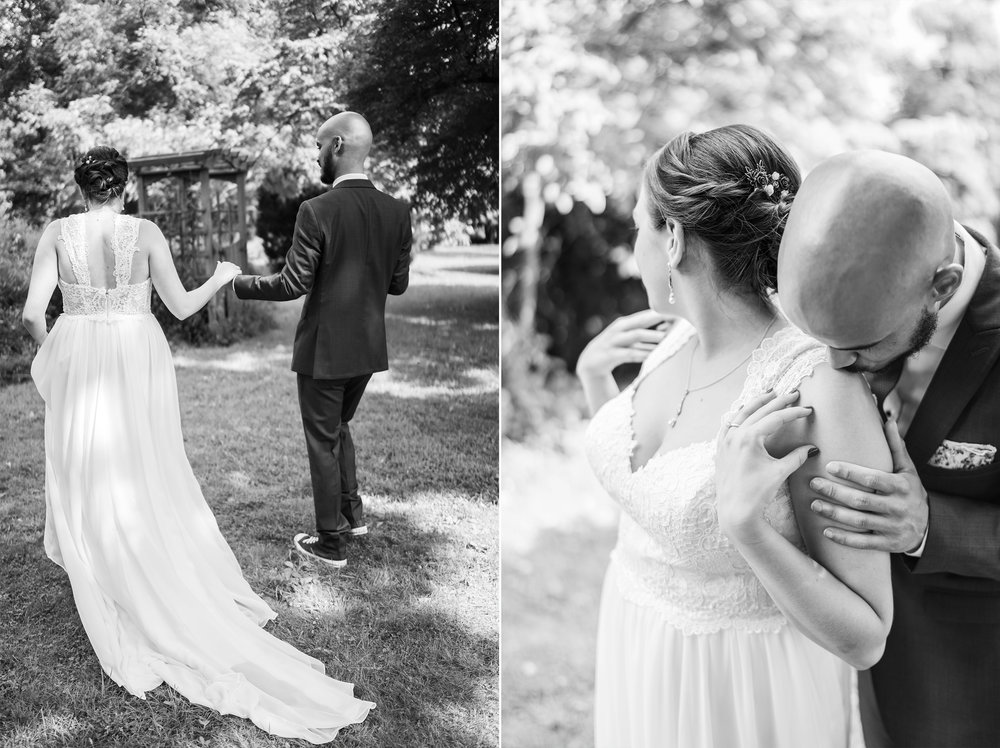 Romantic wedding portraits in black and white at Rust Manor House wedding