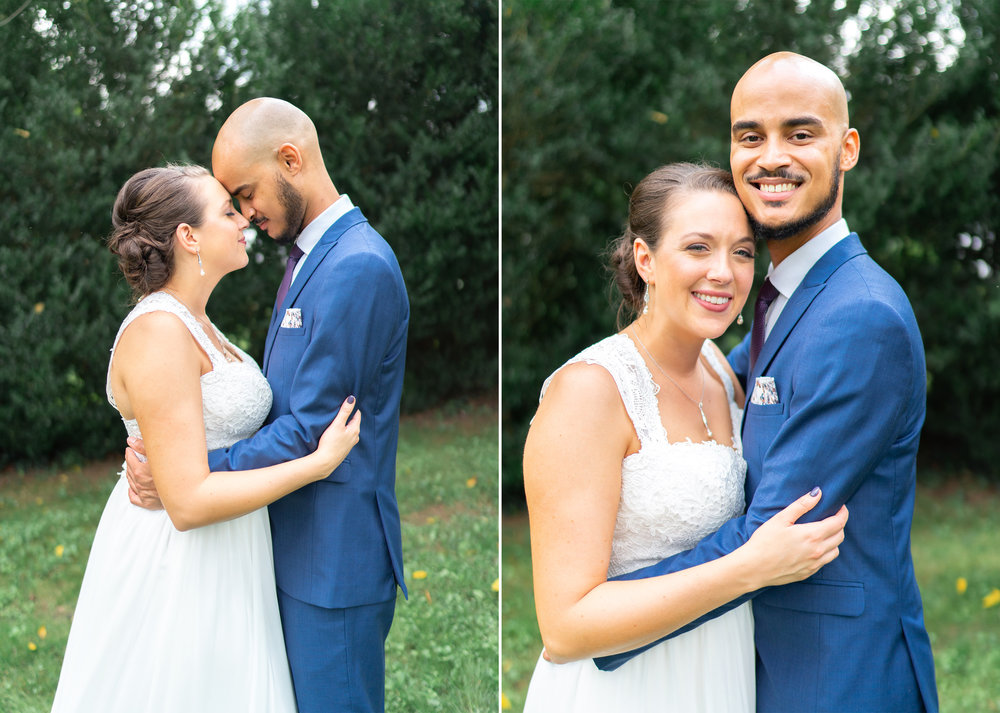 Bride and groom portraits in garden at Rust Manor House wedding