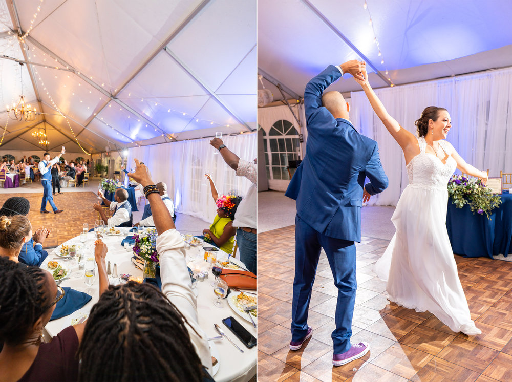 Toasts (left) and first dance (right) at rust manor house reception tent