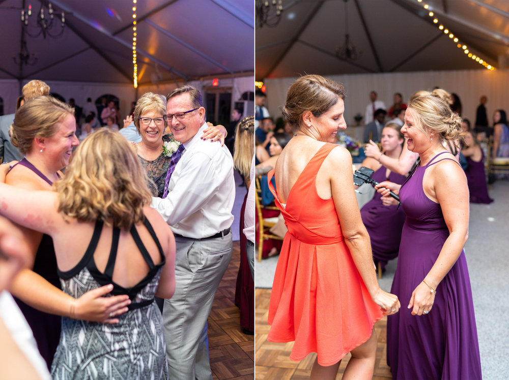 Open dance floor at wedding reception in Leesburg at Rust Manor House