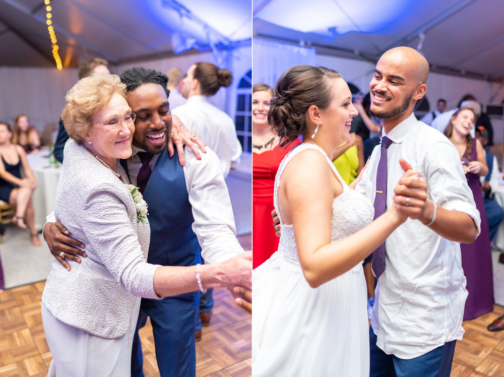 Guests dancing (left) and bride and groom dancing (right) at white tent wedding reception in Leesburg