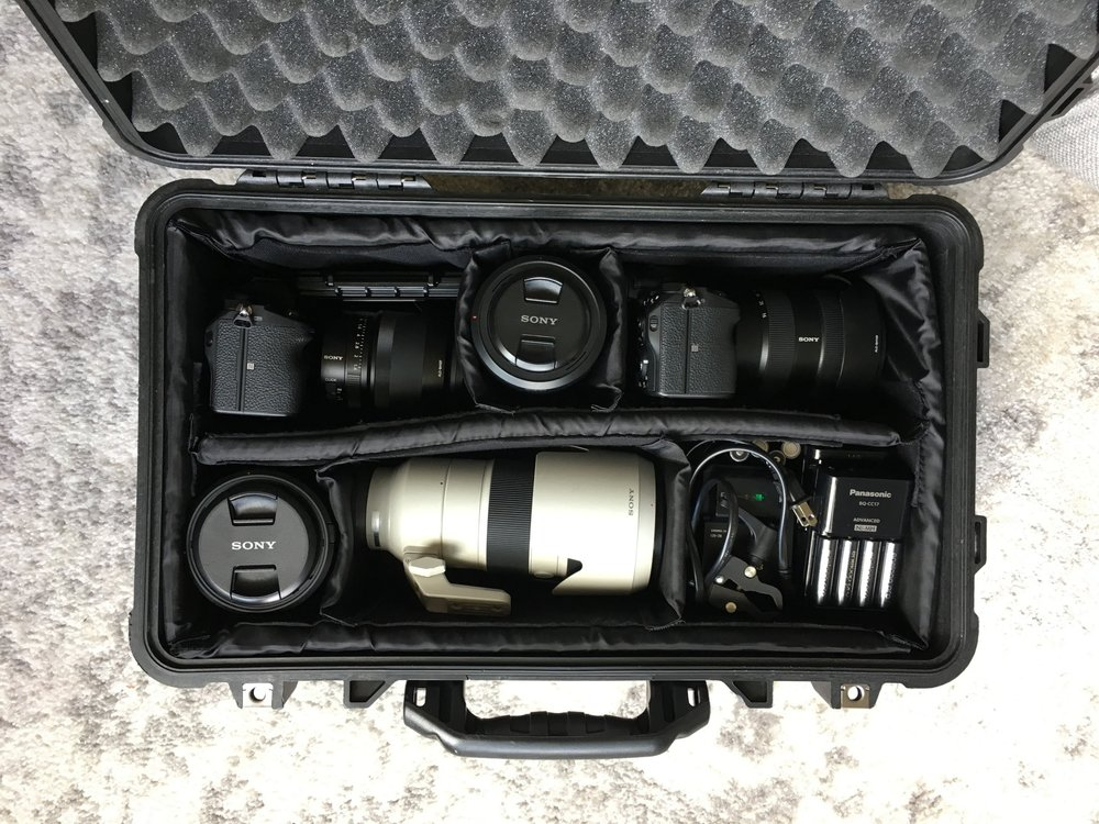 This Pelican 1510 is holding 2 Sony a7riii's with lenses (35mm and 16-35mm), a 70-200, an 85mm, 90mm macro, memory cards and batteries.