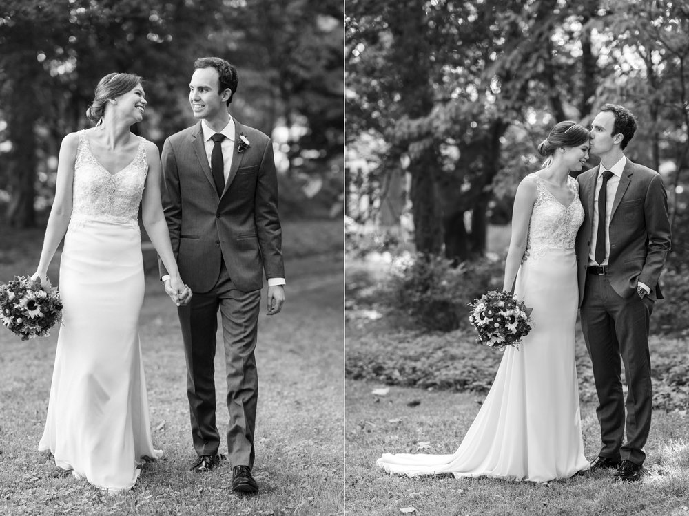 Bride and groom black and white portraits in the garden of Elkridge Furnace Inn photos