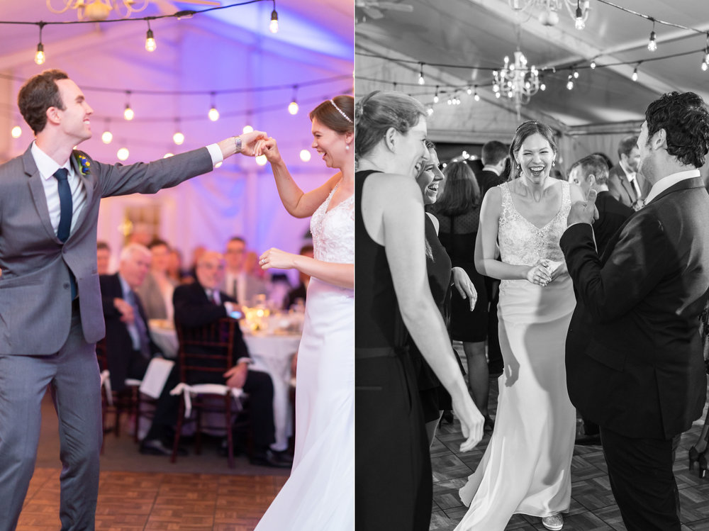 Bride and groom dancing during the reception to Jammin Jim DJ in maryland