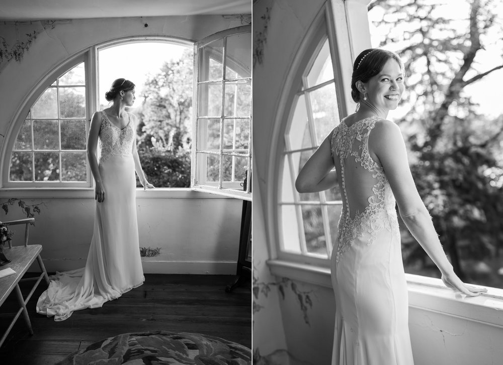 Bride in window at bridal suite at Elkridge Furnace Inn wedding photos