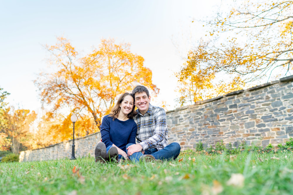 Bride and groom having engagement session on Georgetown University lawn