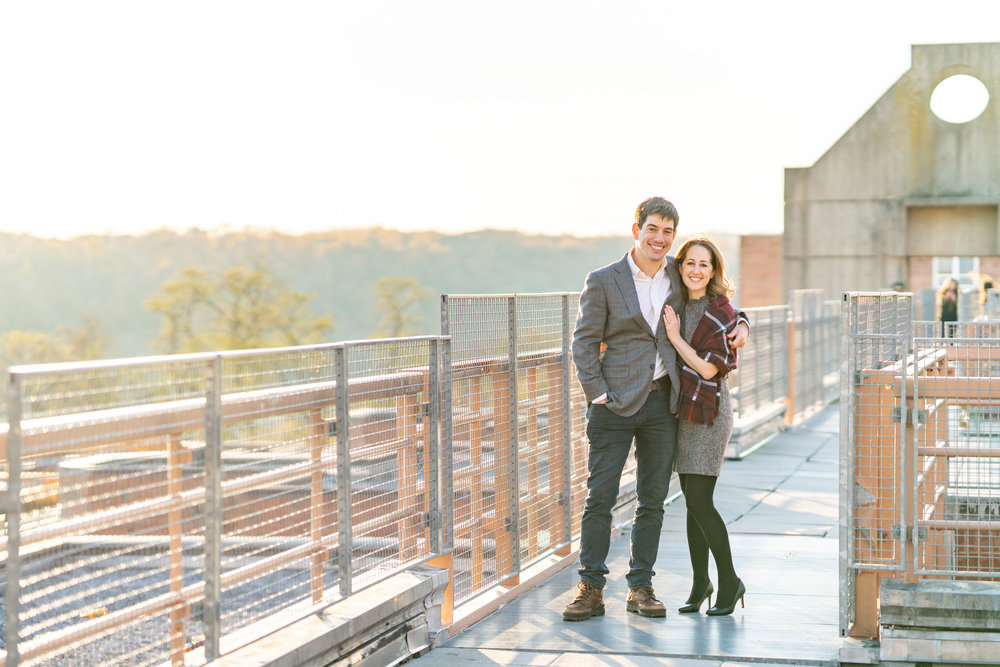 Rooftop engagement photos overlooking Potomac at Georgetown University